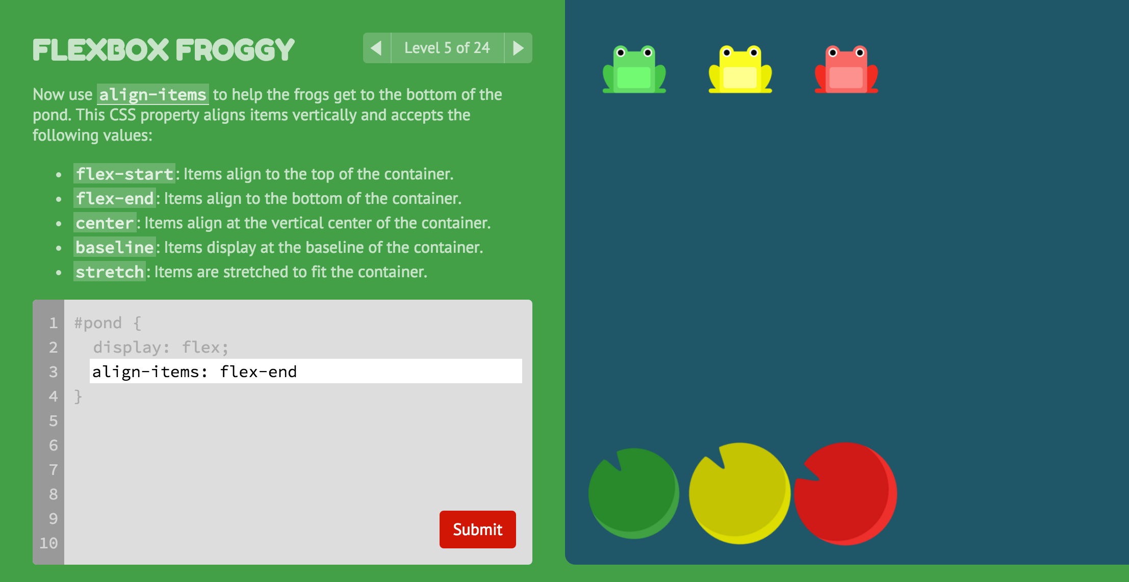 Flexbox Froggy - A game for learning CSS flexbox